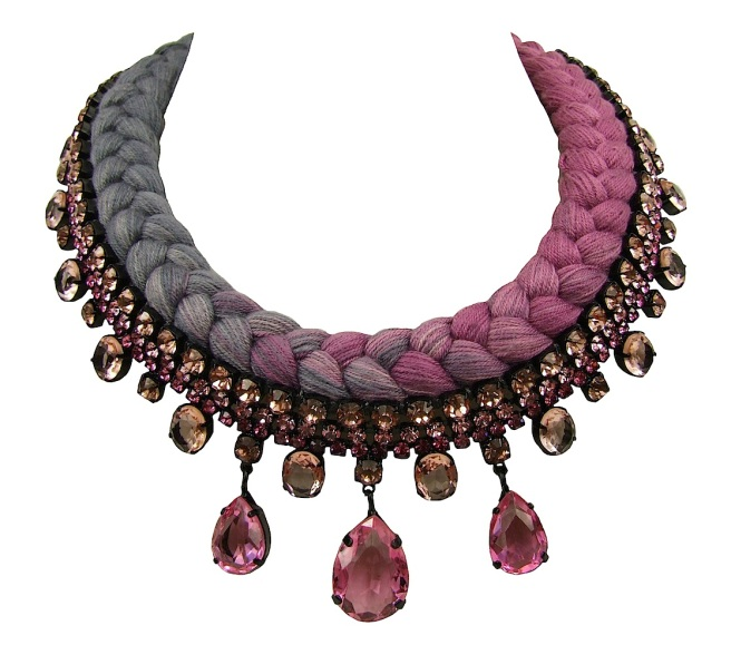 Braided statement necklace made with pink bohemian style rhinestones and dip-dyed silk braid in plum maroon and charcoal