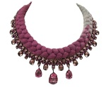 Braided collar style statement necklace made with pink bohemian style rhinestones and dip-dyed silk braid in plum maroon and light charcoal. Crystals are dipped in gold.