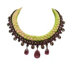 Braided statement necklace made with pink bohemian style rhinestones and silk braid in lime and fuchsia