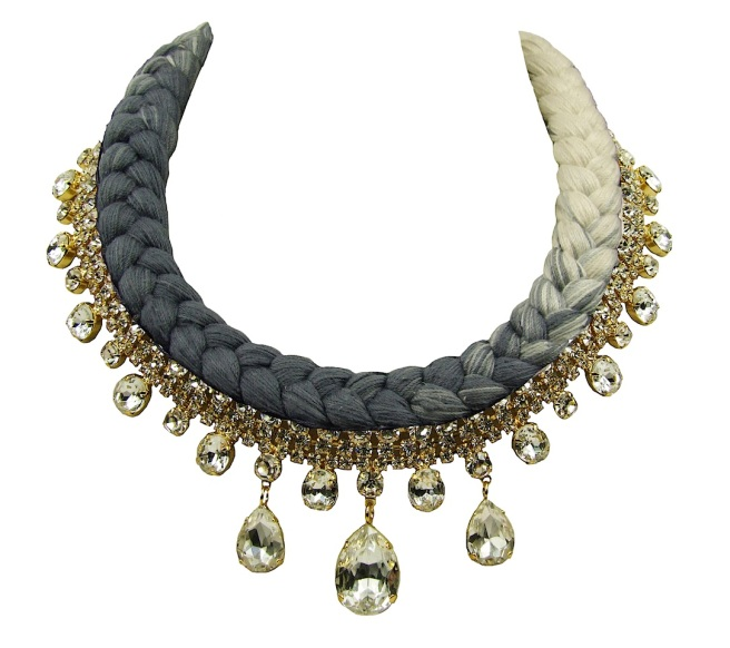 Seychelles statement necklace gold-plated, made with clear rhinestones and a dip-dyed silk braid in nude and charcoal