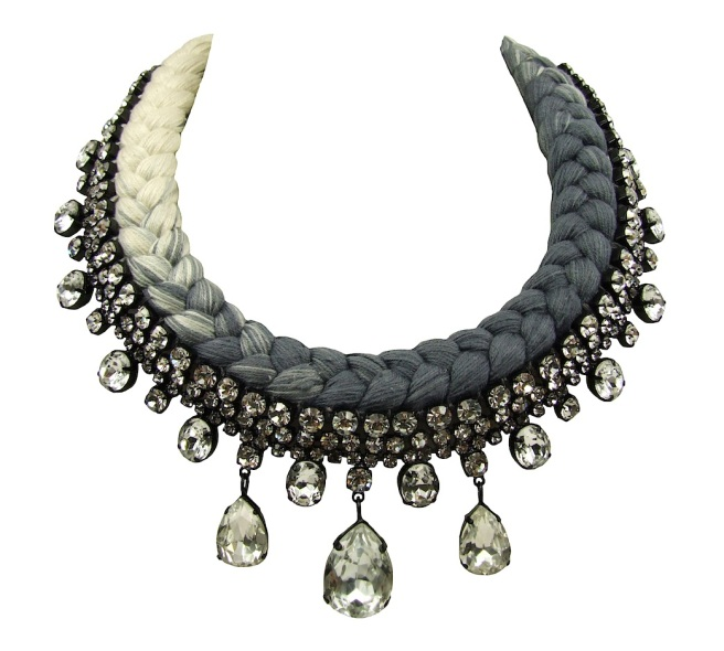 Seychelles statement necklace made with clear rhinestones and a dip-dyed silk braid in nude and charcoal