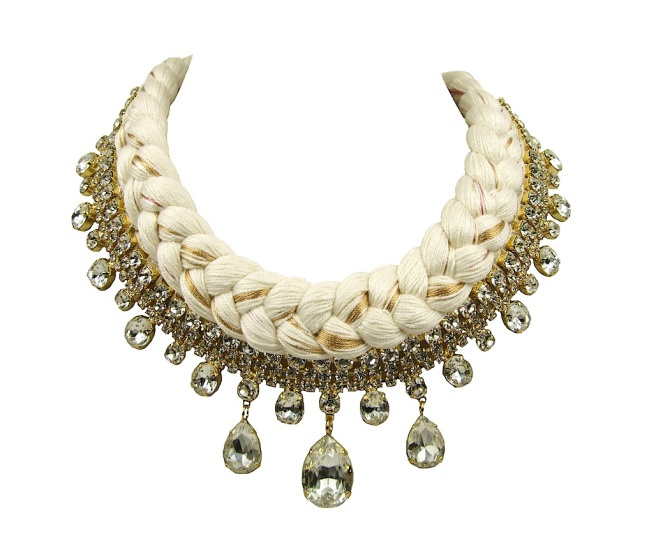 Seychelles statement necklace gold-plated made with clear rhinestones and white silk, mixing in a touch of gold
