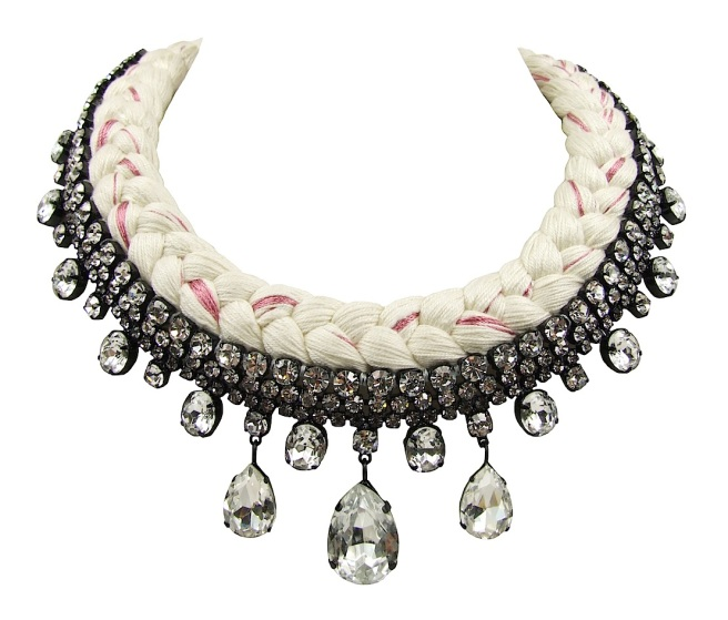 Seychelles statement necklace made with clear rhinestones and white silk, mixing in a touch of pink