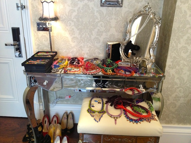 Colourful Jolita jewels laid out for the shoot