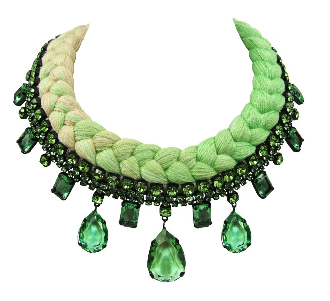 A colourful braided statement necklace in dip-dyed chartreuse and nude silks, made with Bohemian glass crystals in green