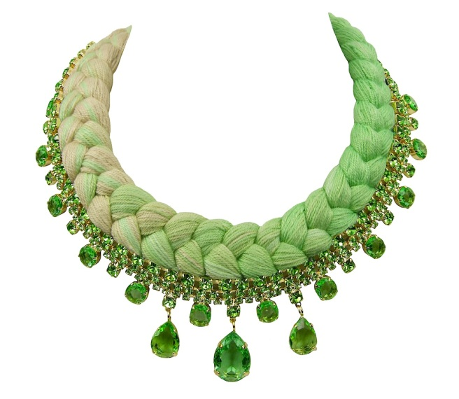 A colourful braided statement necklace in dip-dyed chartreuse and nude silks, made with Bohemian glass crystals in green, dipped in gold