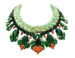 This colourful statement necklace is made with a silk braid in chartreuse, mixing in a touch of cream and orange. The silk braid is embellished with beautiful crystals, hand-painted in dark and light shades of green and orange.