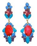 Colourful statement earrings hand-made with meticulous attention to detail. The bigger stones are covered in folly red hand-dyed silk, the rhinestones are hand-painted in beautiful shades of blue and red. The earrings are dipped in gold.