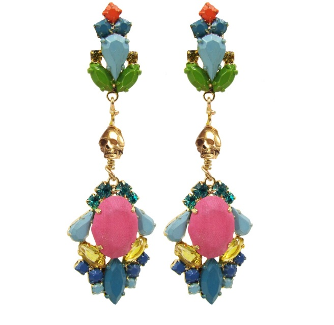 These colourful statement earrings are hand-made with meticulous attention to detail. The bigger stones are covered in dark pink hand-dyed silk, the rhinestones are hand-painted in beautiful pastels, adorned with skulls and dipped in gold.