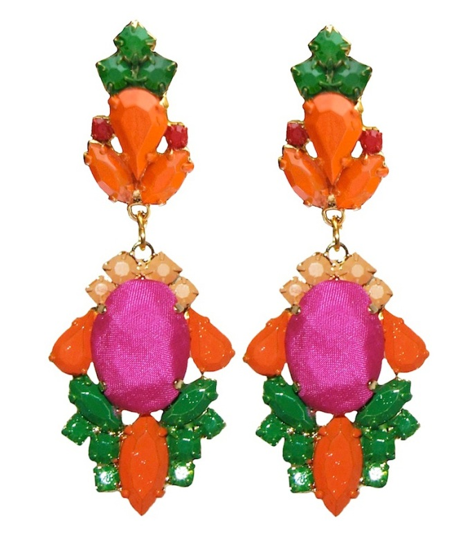 Colourful statement earrings hand-made with meticulous attention to detail. The bigger stones are covered in fuchsia hand-dyed silk, the rhinestones are hand-painted in beautiful shades of orange, red and green. The earrings are dipped in gold.