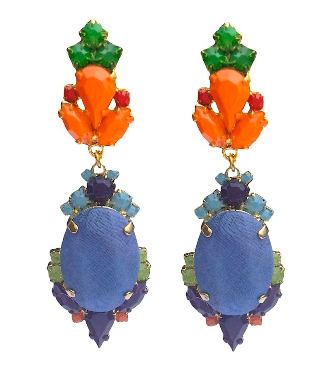 Colourful statement earrings hand-made with meticulous attention to detail. The bigger stones are covered in lavender hand-dyed silk, the rhinestones are hand-painted in beautiful shades of orange, red and green. The earrings are dipped in gold.