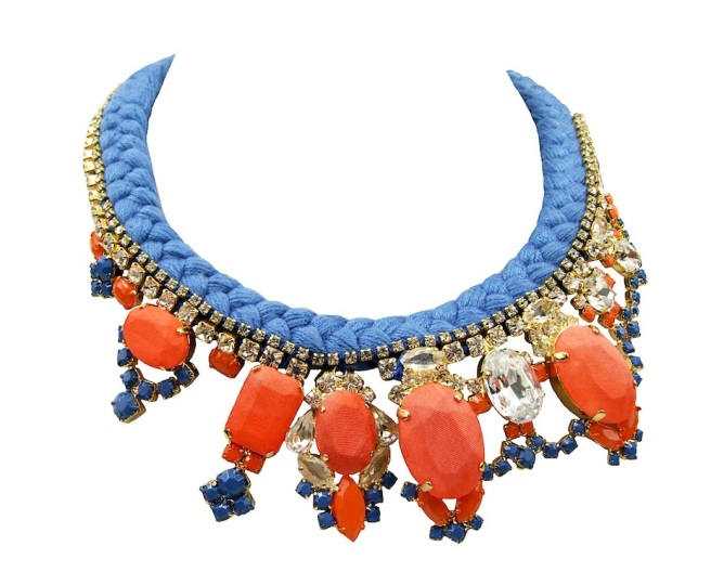 A colourful Las Vegas statement necklace, made with a blue silk braid and deconstructed jewels, dipped in gold, hand-painted and covered in hand-dyed silk.