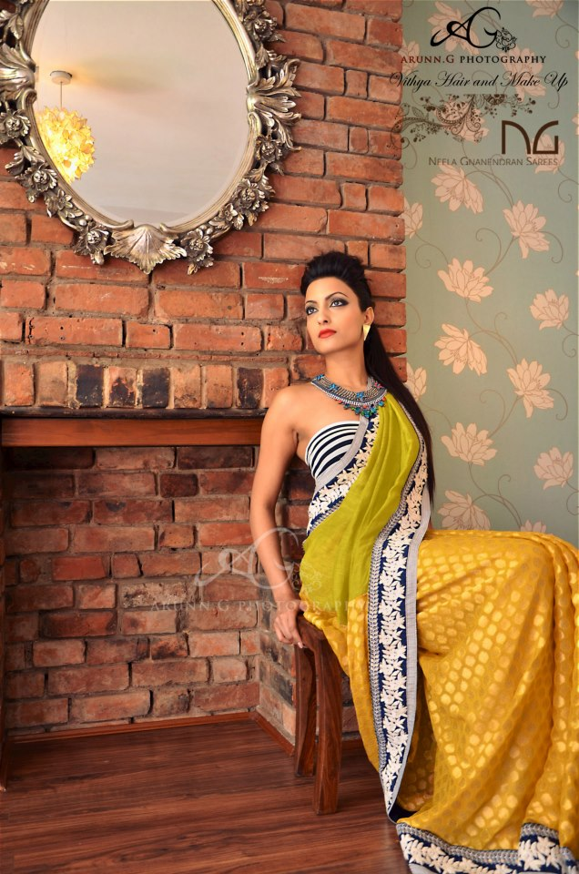 From the recent shoot for NGSarees debut saree collection. A model is wearing one-of-a-kind Marrakech necklace by Jolita Jewellery made with vintage chains, grey silk braid and rhinestones hand-painted in neon. Hair, make-up and styling by Vithya, photography - Arunn G.