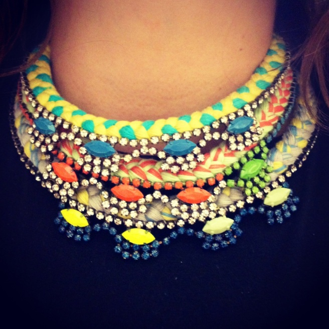 Three easy to wear and light Oslo necklace layered together. Made with a colourful silk braid and hand-painted rhinestones