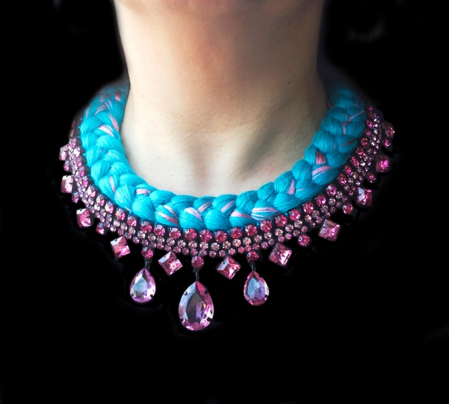 Braided statement necklace made with pink bohemian style rhinestones and dip-dyed silk braid in bright turquoise, mixing in a hint of pink