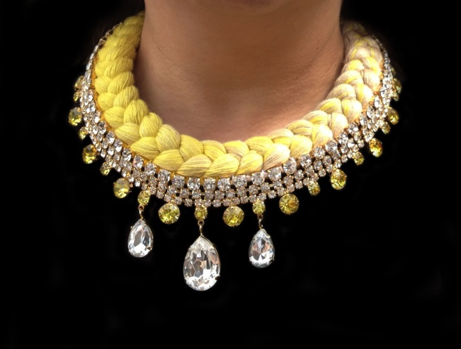 Seychelles statement necklace gold-plated, made with clear rhinestones and a dip-dyed silk braid in nude and citrine yellow