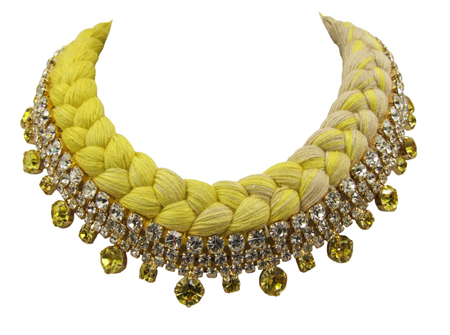 Seychelles collar statement necklace in gold-plated crystals, made with clear rhinestones and a dip-dyed silk braid in nude and citrine yellow