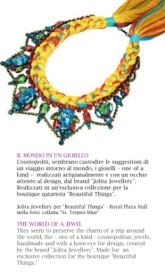 Italian Magazine Via Condotti, Globetrotter article - shopping in world's capitals - featuring Jolita Jewellery's St.Tropez necklace featured for shopping in Doha, Qatar Beautiful Things Boutique