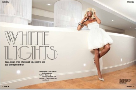 "Jolita feature in Pride Magazine June 2013 editorial ""White Lights"". A model is wearing a white dress, Jolita Jewellery's dip-dyed Malaga statement necklace and colourful Flower and Skull statement bangle made with new and reclaimed components."