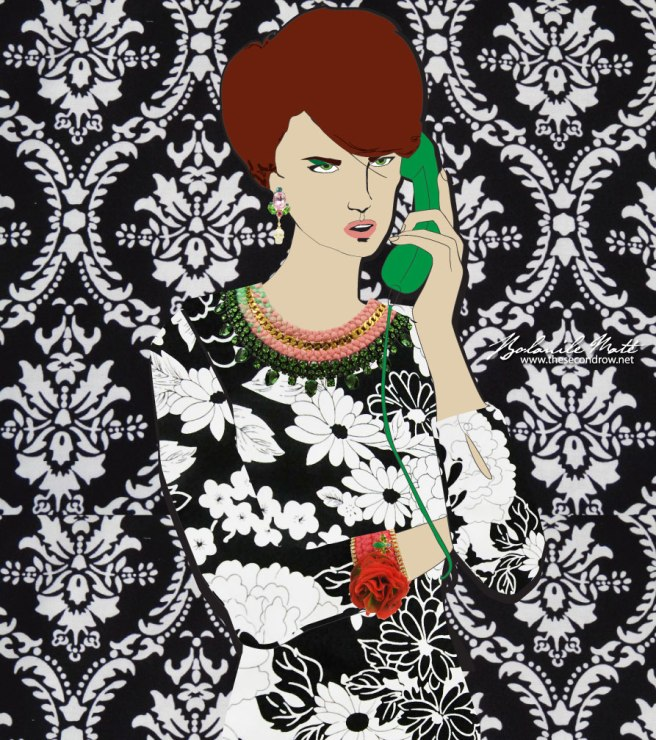 Bolanile Maté illustration, featuring Jolita Jewellery pieces: a colourful Barcelona Lux necklace with a double silk braid, green crystals and gold tone chain, Disco skull earrings with crystals and skulls, Braided cuff with a bright crimson silk, embellished with silk flower and little luxury bug, dipped in gold