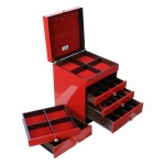 """Cherry"" is a beautiful hand-made jewellery box with multiple compartments to keep your treasured possessions."