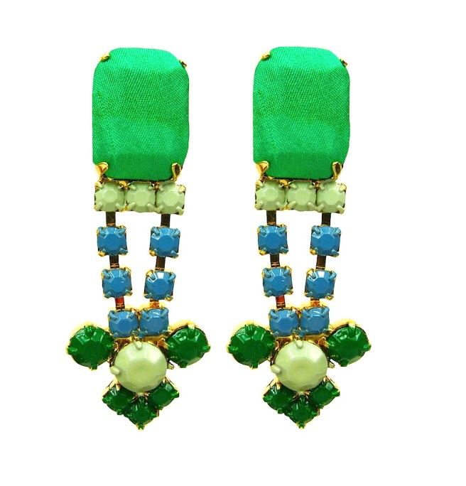 Colourful clip-on statement earrings DUBAI hand-made by Jolita Jewellery in soft and bright green. Light and easy to wear the earrings are dipped in gold, the bigger stones are covered in hand-dyed silk.