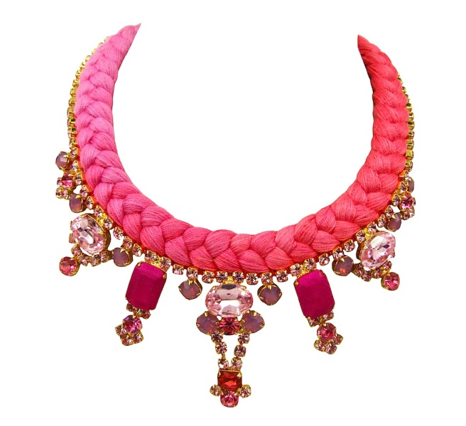 This colourful Dubai statement necklace by Jolita Jewellery is made with a dip-dyed fuchsia and crimson silk braid, dipped in gold crystals, that have been hand-painted in pink, with two bigger ones covered in hand-dyed silk.