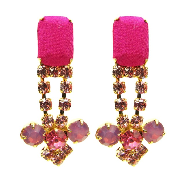 Colourful statement earrings DUBAI hand-made by Jolita Jewellery in soft pink and bright fuchsia. Light and easy to wear the earrings are dipped in gold, the bigger stones are covered in hand-dyed silk.