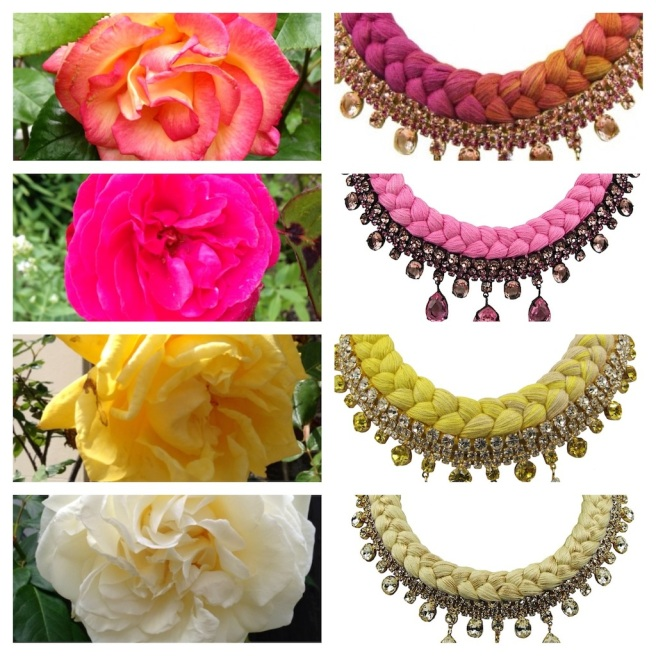 Colourful flowers - inspiration behind summery collection of Jolita Jewellery pieces.