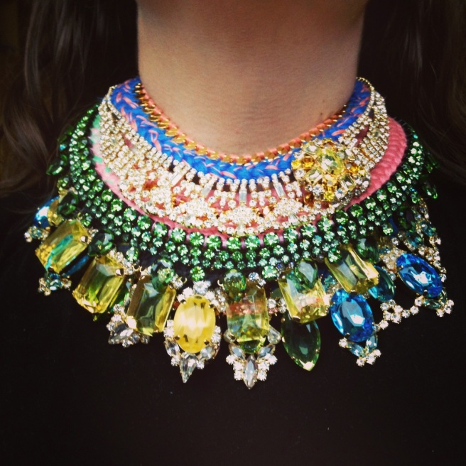 Luxury necklace made by Jolita Jewellery in colourful silk braid, embellished with deconstructed jewels dipped in gold