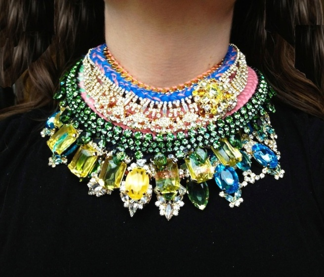 Luxury Jolita necklaces layered one upon the other. Hand-made in colourful silk braids and dipped in gold crystals.