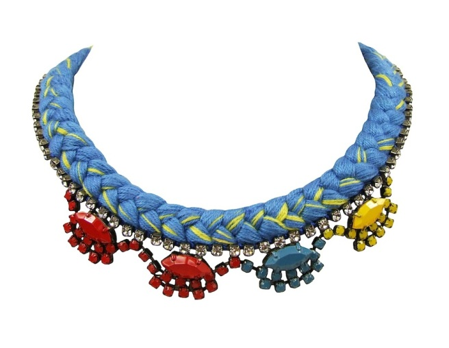 A colourful statement necklace made with blue and canary yellow mixed silk braid and rhinestones, hand-painted in yellow, blue and red.