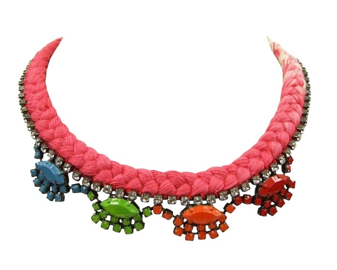 A colourful statement necklace made with a dip-dyed silk braid in scarlet red and white and rhinestones, hand-painted in blue, green, orange and red