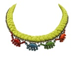 A colourful statement necklace made with a lime silk braid and rhinestones, hand-painted in blue, green, orange and red