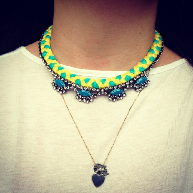 A light, easy to wear and easy to pair with other jewellery pieces Oslo necklace, made with a mixed yellow and turquoise braid and available in a choice of colours from Jolita Jewellery