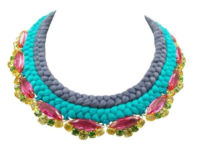 This colourful statement piece is made with a double collar silk braid, stitched to crystals in soft shades of pink, green and citrine yellow, dipped in gold for that extra luxury.