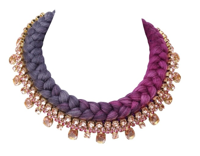 Prague dip-dyed maroon charcoal collar gold