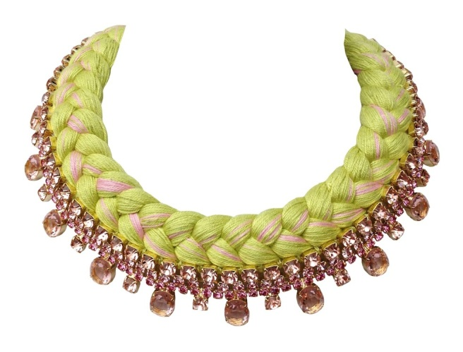 Braided collar style statement necklace made with pink bohemian style rhinestones and silk braid in lime and fuchsia. Crystals are dipped in gold.