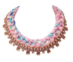 Braided collar style statement necklace made with pink bohemian style rhinestones and silk braid in pink, mixing in a touch of turquoise, blue, yellow and champagne. Crystals are dipped in gold.