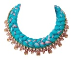 Braided collar style statement necklace made with pink bohemian style rhinestones and silk braid in bright turquoise, mixing in a hint of pink. Crystals are dipped in gold.