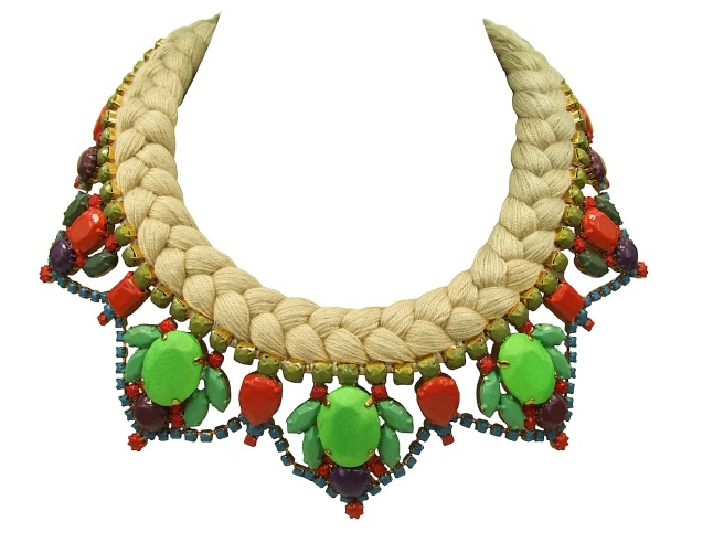 A bright colourful statement necklace made with dip-dyed silk braid, gradually changing from nude to rich olive at the back of the necklace. The crystals are hand-painted in bright colours with bigger three stones covered in hand-dyed neon green silk. Entire necklace is dipped in gold for luxury rich finish.