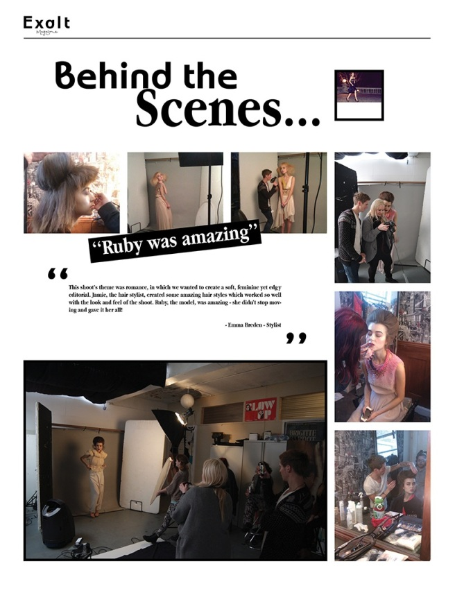 Exalt Magazine's first issue Jolita feature behind the scenes