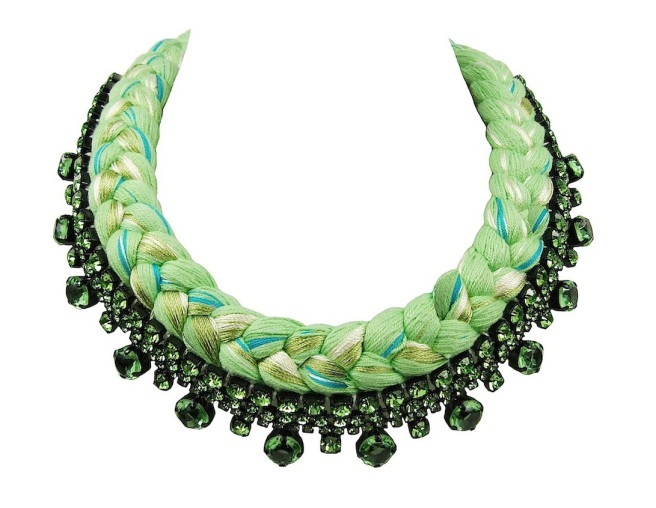 A colourful braided collar style statement necklace in chartreuse silk braid, mixing in a touch of green, turquoise and metallic green, made with green Bohemian glass rhinestones