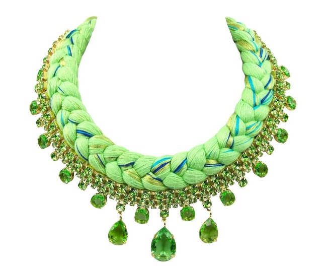 A colourful braided statement necklace in chartreuse silk braid, mixing in a touch of green, turquoise and metallic green, made with green Bohemian glass rhinestones dipped in gold