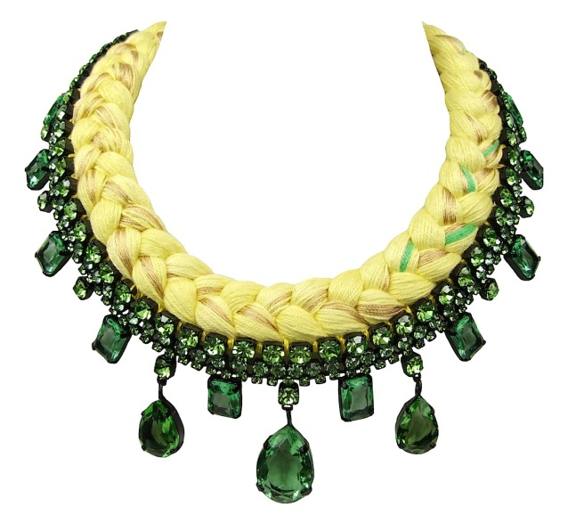 A colourful braided statement necklace in yellow silk, mixing in a touch of green and metallic gold, made with Bohemian glass rhinestones in green