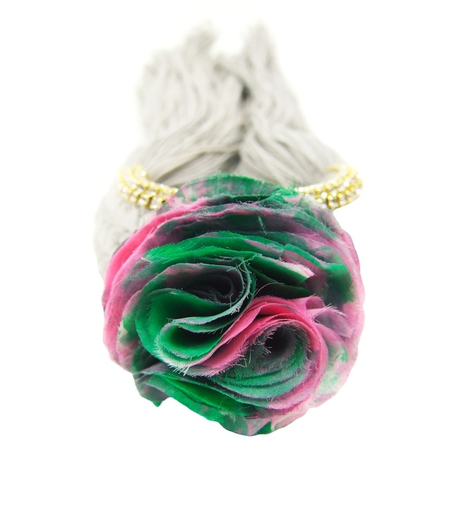 Colourful braided cuff handmade with a grey silk braid and embellished with small crystals and a handmade silk flower
