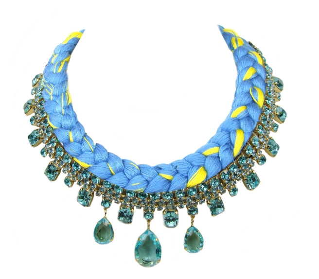 A colourful braided statement necklace in canary yellow and light blue silks, made with Bohemian glass rhinestones in light blue, dipped in gold