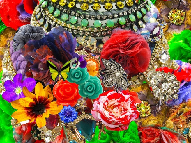 Colourful collage made using fragments from Jolita Jewellery pieces