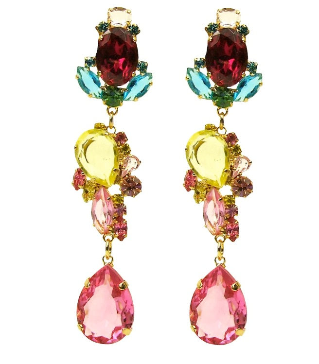 Statement earrings made with colourful crystals, dipped in gold for luxury rich finish.