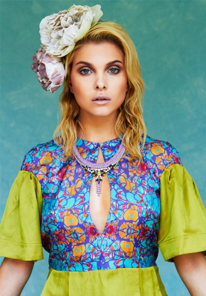 Kit Magazine July issue - a model is wearing Jolita Jewellery's statement necklace, made with a silk braid in light purple and crystals.